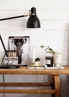 Vignette on the bedside table in the beautiful home of Swedish interior stylist Pella Hedeby.