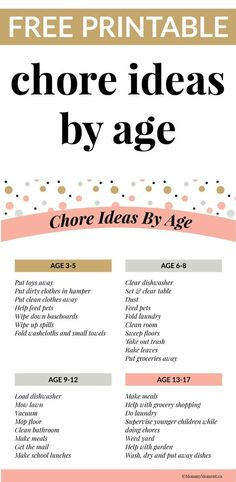 A great list of chores for kids by age.