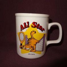 All-Star-Garfield-Tennis-Coffee-Mug-11-oz-Cup-Ceramic-Jim-Davis-1978