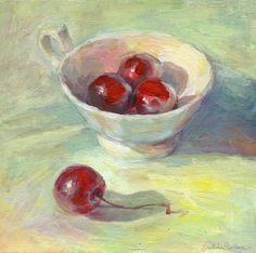 "Saatchi Online Artist: Svetlana Novikova; Acrylic, Painting ""Cherries in a cup still life painting Svetlana Novikova"""
