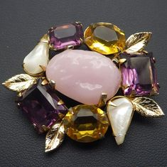 Vintage Brooch, Citrine, Amethyst, Mother Of Pearl and Rose Quartz look stones, Quality Craftsmanship!