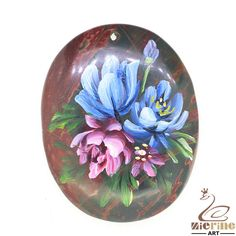 Beautiful Pendant Hand Painted flower Natural Gemstone bag Accessory ZL802679 #ZL #Pendant