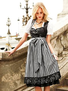 Black and white dirndl - gingham apron.