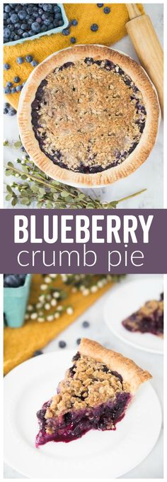This Blueberry Crumb Pie is bursting with a sweet berry filling and topped with a crunchy crumb crust. It's the perfect amount of crunch with the juicy berries.