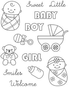 Baby boy and girl digi stamps Baby Embroidery, Hand Embroidery Designs, Embroidery Patterns, Dibujos Baby Shower, Baby Shower Clipart, Shower Baby, Baby Mehndi Design, Moldes Para Baby Shower, Doodle Baby