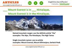 Zde je správná odpověď a vysvětlení ohledně mini kvízu k používání členů v angličitně u hor a pohoří. High Tatras, Mount Kilimanjaro, Mountain Range, Alps, Mount Everest, Travel, Viajes, Destinations, Traveling