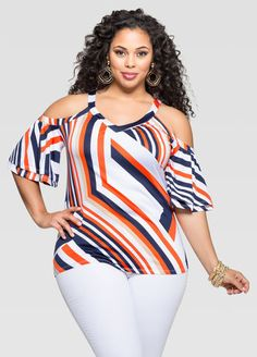 Abstract Ruffle Sleeve Cold Shoulder Top