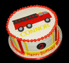 We created this birthday cake for a fire truck themed birthday celebration -our customer hired Fantastic Fire Department for the party. Fireman Birthday, Boy Birthday Parties, 2nd Birthday, Birthday Ideas, Fireman Cake, Fireman Party, Blaze Birthday Cake, Fire Fighter Cake, Truck Cakes