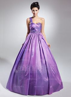 Quinceanera Dresses - $168.99 - Ball-Gown One-Shoulder Floor-Length Taffeta Quinceanera Dress With Ruffle Beading (021015126) http://hochzeitstore.com/Ball-gown-One-shoulder-Floor-length-Taffeta-Quinceanera-Dress-With-Ruffle-Beading-021015126-g15126