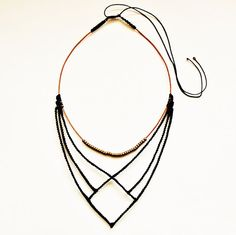 Macrame black necklace with beads and leather  por TheDancingCord