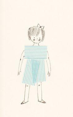 Masking Tape Girl doodl, washi tape, mask tape