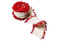 "4"" Wool Red Poms Ribbon, Cream"
