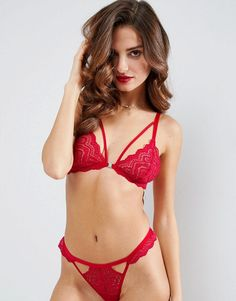ba296dd52d47b ASOS Malin Lace Triangle Bra - Red Women Lingerie