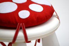Idea for MAMMUT ($8) stool from IKEA.  Childs toadstool stool cushion, via Etsy.