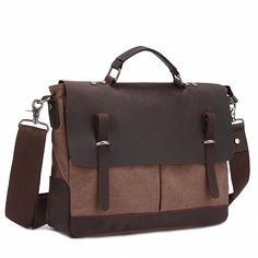 Zebella Men's Cotton Canvas Crazy-horse Leather Business Briefcase Crossbody Laptop Messenger Bag ** You can find out more details at the link of the image.