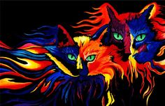 Fire Cats  A fine art instant digital by ShatteredVisAbility