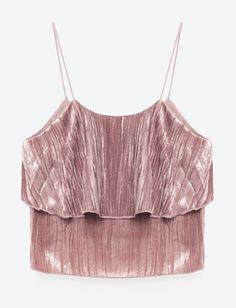 Girlish Velvet Pink Tank Top Ruffle Trim Velvet Top Winter Outfit