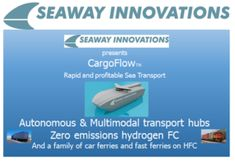 New concept under development for autonomous ships and the handling of the goods plus transfer to rail or road. Propulsion is planned to come from Hydrogen - fuel cells which only gives water as rest emission.