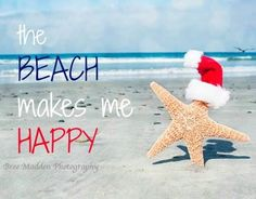 Happy dance at the beach... Starfish with Santa Cap. Featured on Beach Bliss Living here:  http://beachblissliving.com/beach-christmas-card-photo-ideas/ Photo by Bree Madden.