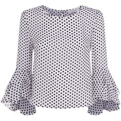 Milly Gabby Polka Dot Top (1.338.970 COP) ❤ liked on Polyvore featuring tops, print top, patterned tops, polka dot top, dot top and long sleeve tops