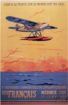 Lucien CAVE – Vintage poster – Small poster, published in 1930 by the French Air Defense Department Vintage Travel Posters, Vintage Ads, French Vintage, Alexandre Le Grand, Flying Boat, Vintage Airplanes, Aviation Art, Art Graphique, France