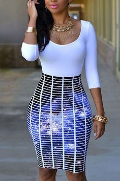 e231a4ef8d Chicloth Half Sleeve O Neck Galaxy Skirt Patchwork Bodycon Dress Dress For Short  Women