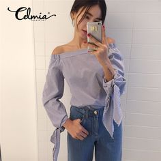 11.48$  Buy here - Zanzea Plus Size Blusas 2017 Spring Summer Women Sexy Off Shoulder Strapless Blouse Bowknot Long Sleeve Striped Casual Top Shirt   #SHOPPING