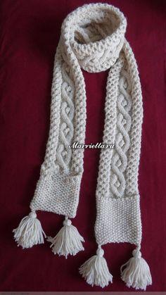 Длинный шарф с карманами. Вязание спицами