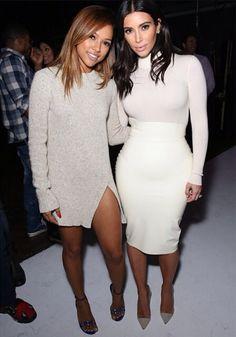 Karrueche Tran's Teyana Taylor Album Listening Party Zara Tweed Sweater Dress with a Slit kim kardashian