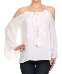 Look at this Karen T. Design White Tassel Cutout Top on #zulily today!