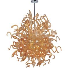 <p> 	Mimi  Chandelier features a bouquet of hand formed flowers and buds of glass in Cognac, Fume, Sunrise and Root Beer colors with Polished Chrome finish.  Available in a semi flush ceiling and chandelier version.  Includes eighteen 1 watt dimmable LEDs, 1494 lumens.  37 inches wide x 42 inches high.  Maximum overall height 68 inches.  </p>