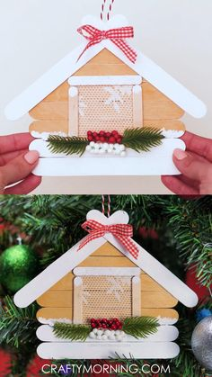 Kids Christmas Ornaments, Handmade Christmas Decorations, Merry Christmas Card, Christmas Projects, Christmas Crafts, Arts And Crafts Supplies, Diy Arts And Crafts, Craft Stick Crafts, Holiday Crafts