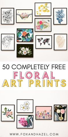 Looking for some unpredictable floral wall art prints for your home? Find 50 of the best most unique and gorgeous free floral printables in one spot! #freeprintable #freefloralprintable #freewallart #freefloralart #floralartprint Free Art Prints, Wall Art Prints, Free Printable Artwork, Printable Paper, Floral Printables, Free Printables, Floral Wall Art, Diy Wall Art, Diy Artwork