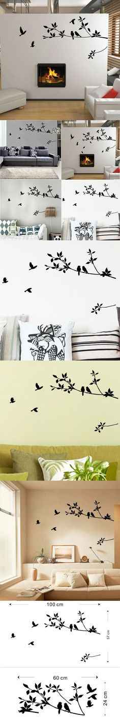 New Home Decor Wall Sticker Removable Mural Decal Tree Bird Living Room Paper Warm Carved TV Background High Quality $3.09