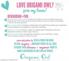Start the New Year out right!  Join my Team in 2015 by going to leslielaws.origamiowl.com.
