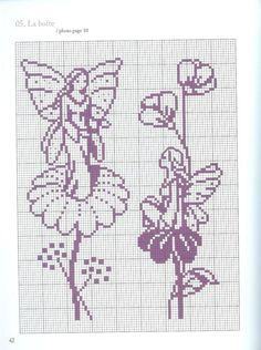 un solo color Cross Stitch Fairy, Cross Stitch Flowers, Cross Stitch Kits, Cross Stitch Charts, Cross Stitch Embroidery, Cross Stitch Patterns, Filet Crochet, Crochet Chart, Loom Beading