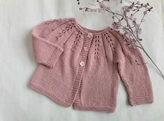 Pink wool & cotton baby cardigan, pretty lace yoke, girl's sweater size 3 to 6 months, knitted with natural fibres - girls woollen cardigan Baby Boy Cardigan, Baby Girl Sweaters, Pink Cardigan, Pink Sweater, 6 Months, Wool, Natural, Lace, Pretty