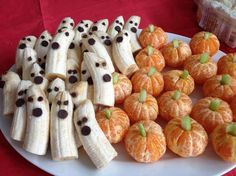 The pumpkin stem is celery or your could use grapes sliced. I believe and the ghost face is a chocolate chip point first in the banana for the mouth and mini chocolate chips for the eyes. You could use raisins, carob, nuts, dried cherries, olives (for an interesting taste combo?). Use your imagination and have fun.