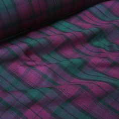 f961b953be8 Purple, Green & Black Poly Viscose Tartan Fabric (Per Metre): Amazon.co.uk:  Kitchen & Home