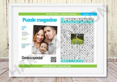 Unique Scandinavian type puzzle (clue-in-squares) with your picture and personal message to celebrate anniversary, wedding, birthday and other events, magazine, newspaper