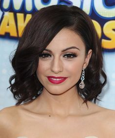 Cher Lloyd, hair, curly bob, dark mocha brunette color, and great makeup, love her brow shape and eyeliner.