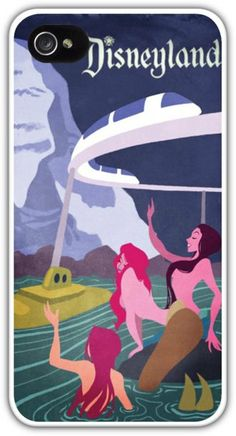 Vintage Disneyland Mermaid Lagoon Submarine Voyage Poster Cell Phone Case Cover iPhone 4/4S 5/5S Samsung Galaxy S3 S4 Disney Mermaids $24.99+FREE SHIPPING