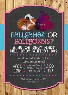 Gender Reveal Invitation  Ballgames or Ballgowns Gender Reveal Invitation by DarlingSailorDesigns, $8.00