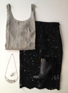 black lace Pierre Balmain skirt