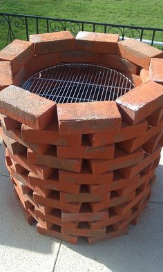 Handmade Brick BBQ Grill : Brick BBQ Grill Parts. Brick bbq grill parts. Diy Fire Pit, Fire Pit Backyard, Backyard Patio, Backyard Landscaping, Fire Pits, Backyard Ideas, Modern Backyard, Patio Ideas, Patio Kitchen