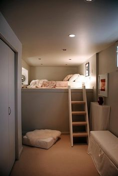 Basement Guest Room - This would be a great way to add guest room capabilities to a basement storage area or something like it. 20 Clever Basement Storage Ideas, http://hative.com/clever-basement-storage-ideas/,