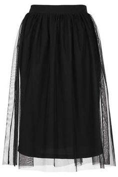 Black Midi Tulle Skirt.