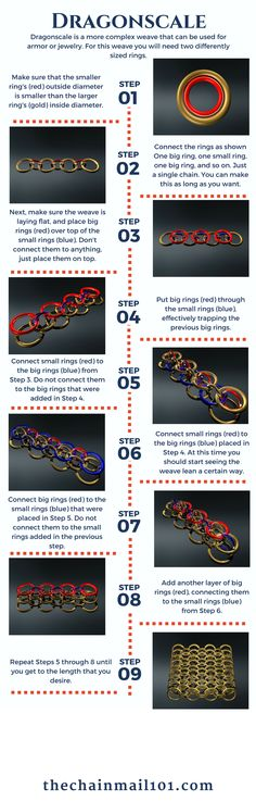 Learn how to weave the Dragonscale chainmail weave with this helpful infographic- thechainmail101.com