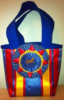 Beautiful tote bag made from horse show ribbons.
