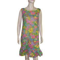 50% OFF WAS $65.00 Vintage 1960's Flower Power Paper Dress Size L